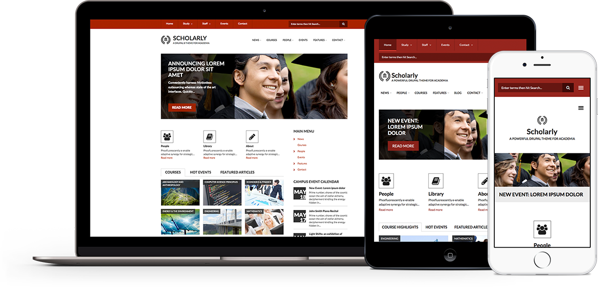 Scholarly Premium theme for Drupal 8