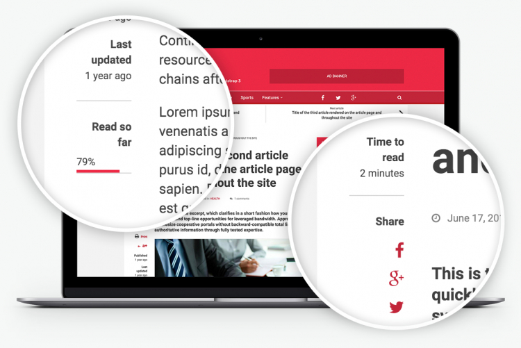 Packed with special features: Time to read, Reading progress, Print article, Font resize and more